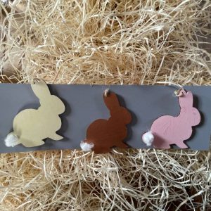 hand painted wooden rabbit decorations